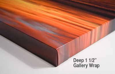 Deep 1.5 inch Gallery Wrap Photo on Canvas.