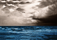 At Sea - Black and White with Blue Modern Ocean Photo Art.